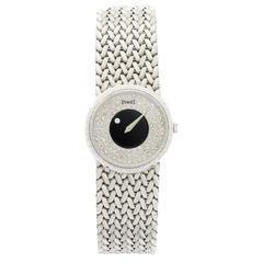 Piaget Ladies White Gold Diamond Onyx Mystery Bracelet Manual Wind Wristwatch