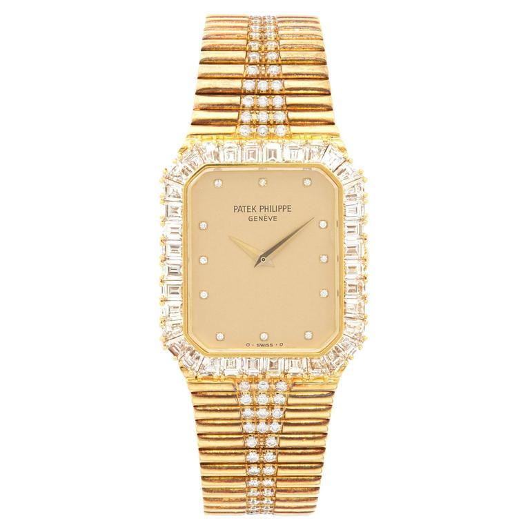 Patek Philippe Yellow Gold Diamond Baguette Manual Wind Wristwatch