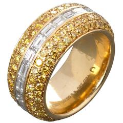 Fancy Yellow Pavé and White Baguette Diamond Eternity Band Ring