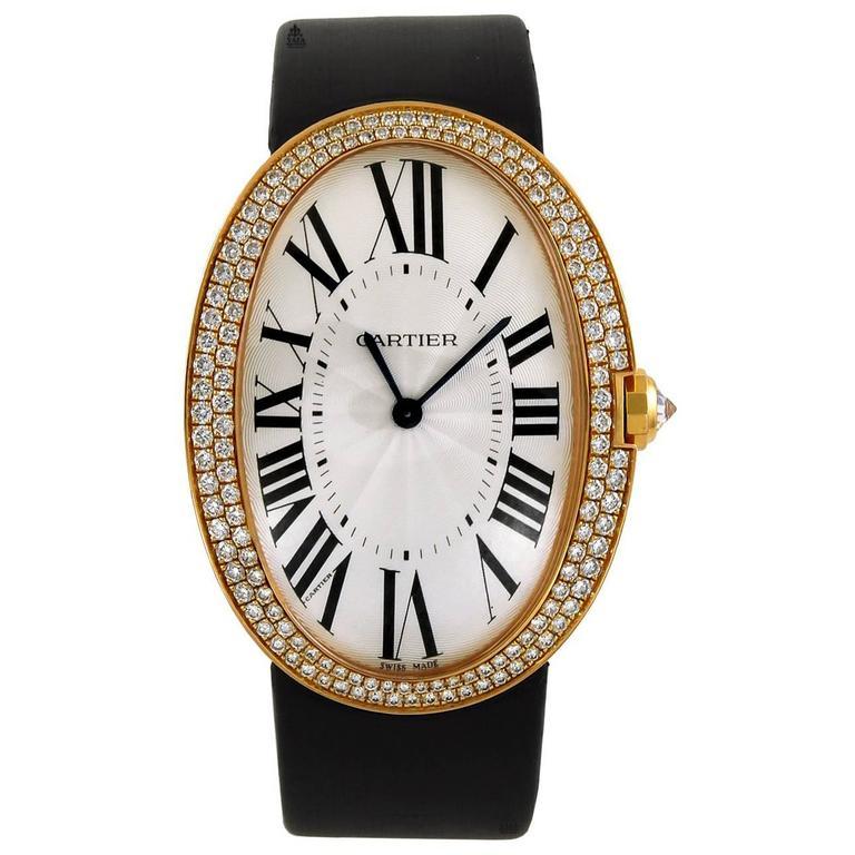 Cartier rose gold Diamond Baignoire Wristwatch 1