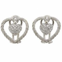Buccellati Diamond Gold Heart Earrings