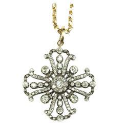 Antique Victorian Rose cut Diamonds Silver Gold Maltese Cross