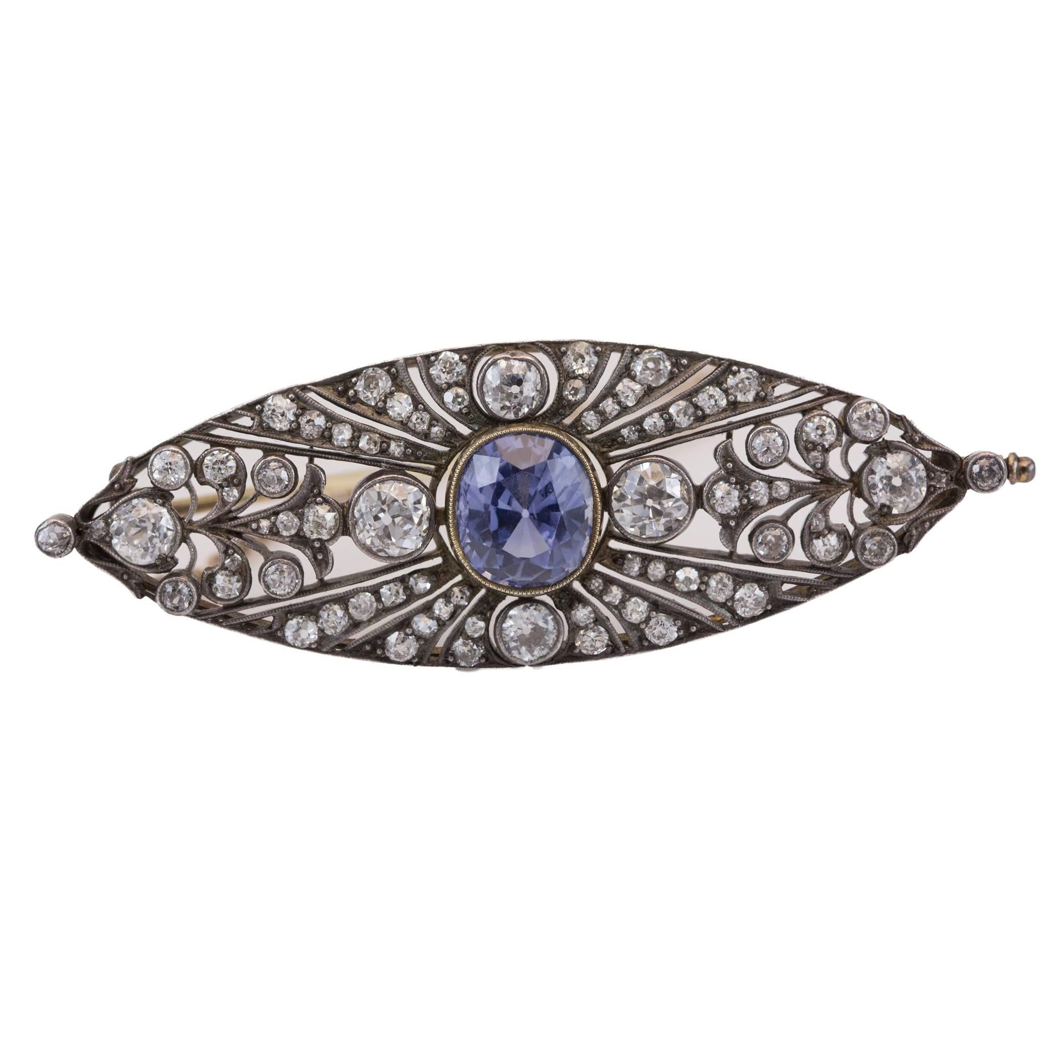 Antique Victorian Sapphire and Old-European Diamond Silver-Topped Gold Brooch