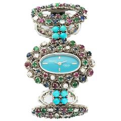Movado Ladies Multicolor White Gold Diamond Turquoise Bracelet Wristwatch