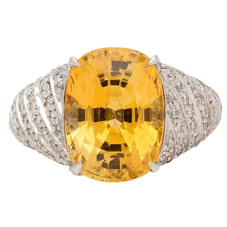 Yellow Sapphire Diamond Platinum dome Ring