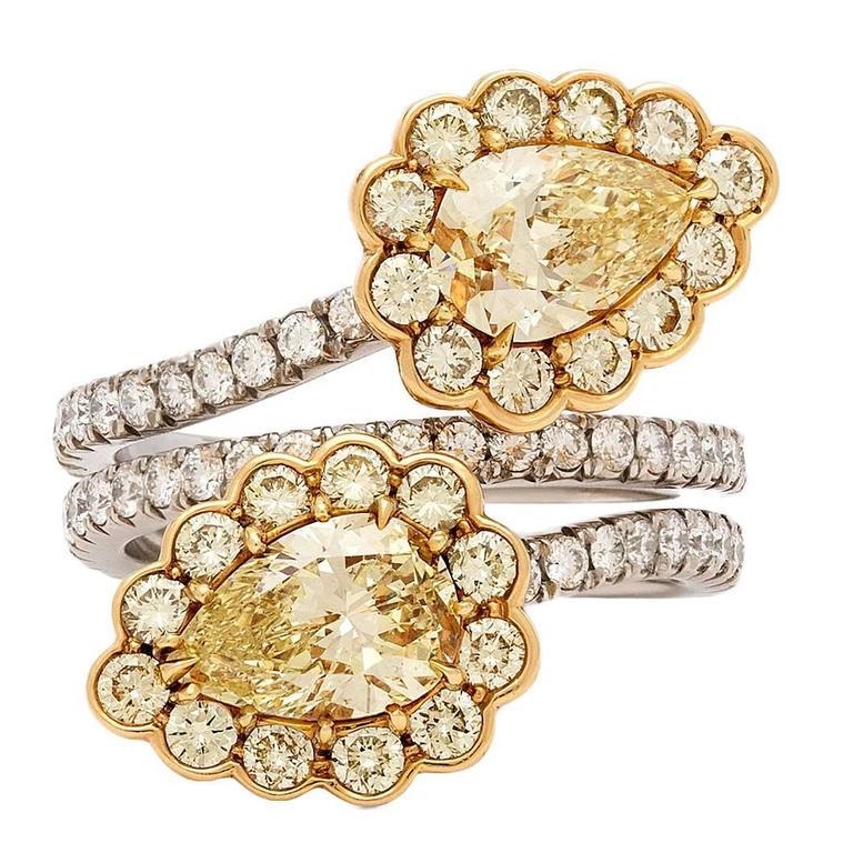 GIA Fancy Light Yellow Diamond gold platinum Flower Bypass Ring