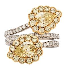 GIA Fancy Light Yellow Diamond gold platinum Flower Bypass Ring