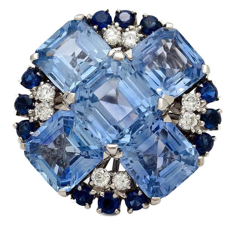 1950s Oscar Heyman Sapphire Diamond Gold Ring