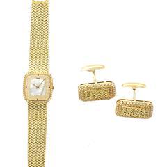 Piaget ladies Yellow Gold Diamond Pearl Wristwatch and Cufflink Set