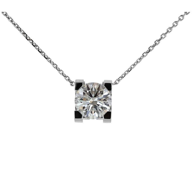 Cartier GIA Certified 1.70 Carat Diamond Gold Pendant
