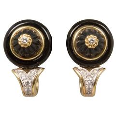 R. Stone Handsome Pair of Onyx Diamond Earclips