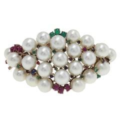 Pearl Ruby Emerald Sapphire Diamond Silver Gold Bracelet