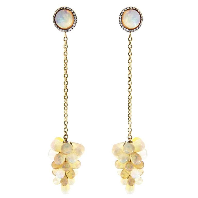Jona Opal Cluster Diamond Gold Pendant Earrings
