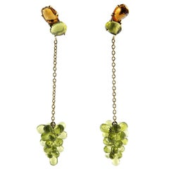Jona Peridot Cluster Citrine 18 Karat Yellow Gold Pendant Earrings