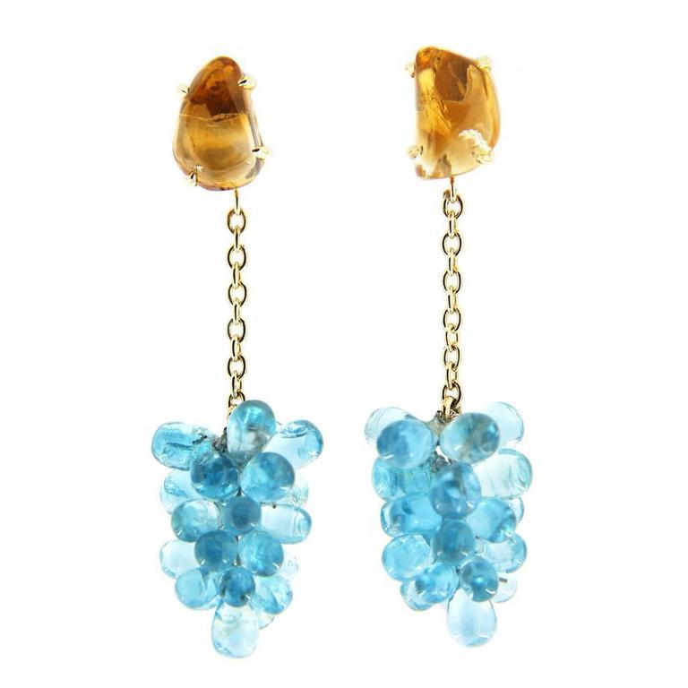 Jona Apatite Cluster Citrine 18k Yellow Gold Pendant Earrings