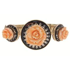 Rose Coral Onyx Diamond Gold and Silver Bracelet