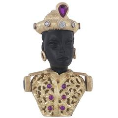 1950s Gem Set Onyx Gold Blackamoor Pendant