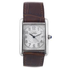 Cartier Ladies Sterling Silver Must de Cartier Tank Quartz Wristwatch
