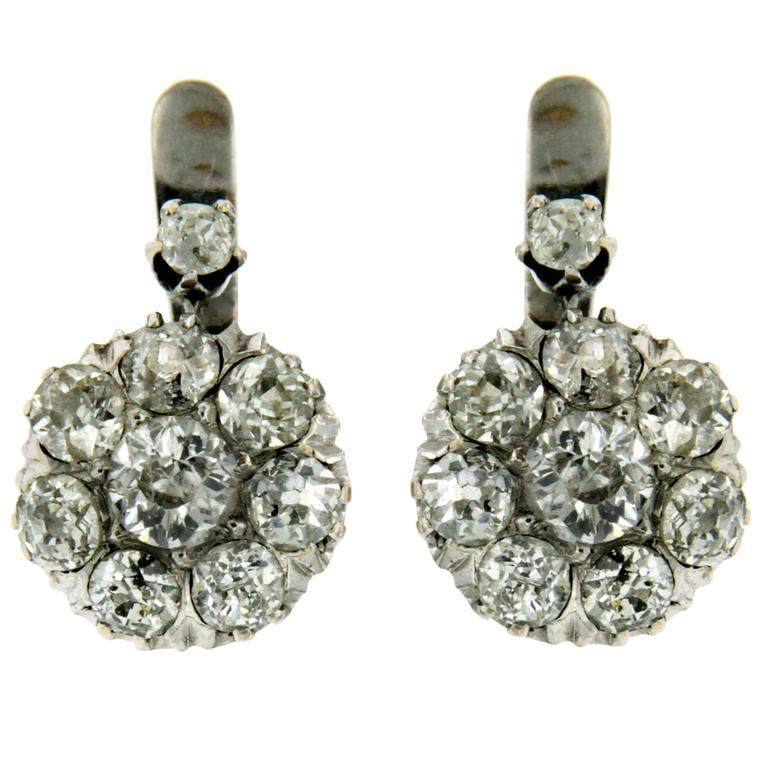 Old Cut Diamond Gold Cluster Drop Earrings For Sale
