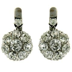 Old Cut Diamond Gold Cluster Drop Earrings