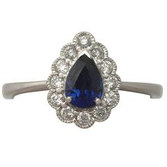 2010s Sapphire and Diamond White Gold Cocktail Ring