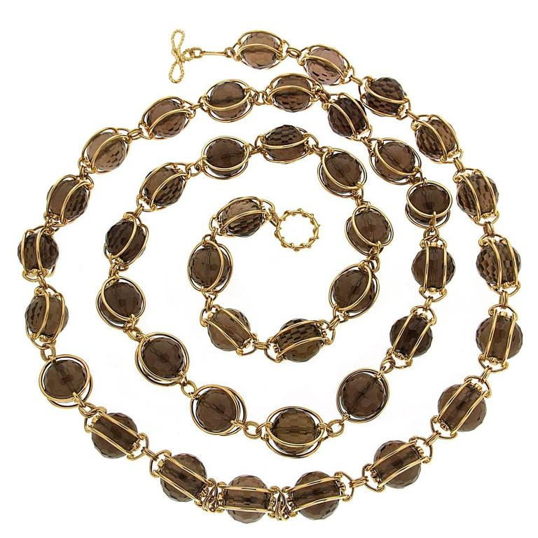 Valentin Magro Doppio Smooth Smokey Topaz Gold Necklace For Sale