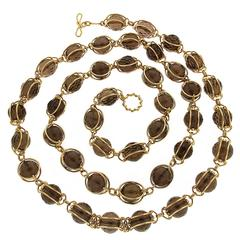 Valentin Magro Doppio Smooth Smokey Topaz Gold Necklace