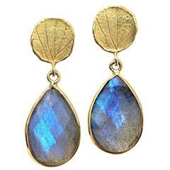 Barbara Heinrich Faceted Labradorite Gold Petal Top Handmade Dangle Earrings