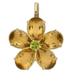 Citrine Peridot Gold Flower Pendant