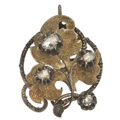 Antique Diamond Two Color Gold Foliate Pendant
