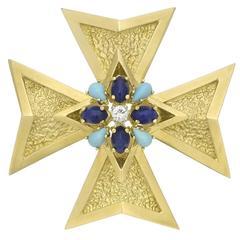 Lapis Turquoise Diamond gold Maltese Cross Pendant Brooch