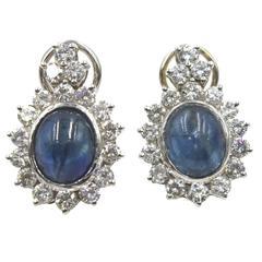 10-Carat Cabochon Blue Sapphire Diamond White Gold Fashion Earrings