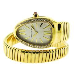 Bulgari ladies yellow gold Diamond Serpenti Quartz Wristwatch