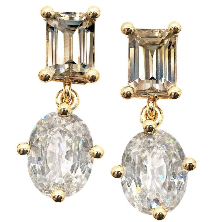 Zimmermann Natural Brilliant Champagne Baguette Oval Zircon Princess Earrings For Sale
