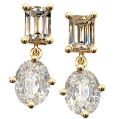 Zimmermann Natural Brilliant Champagne Baguette Oval Zircon Princess Earrings