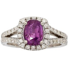 Purple Pink Sapphire Diamond Gold Ring