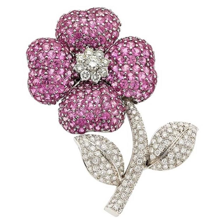 Pink Sapphire Diamond Gold Flower Brooch