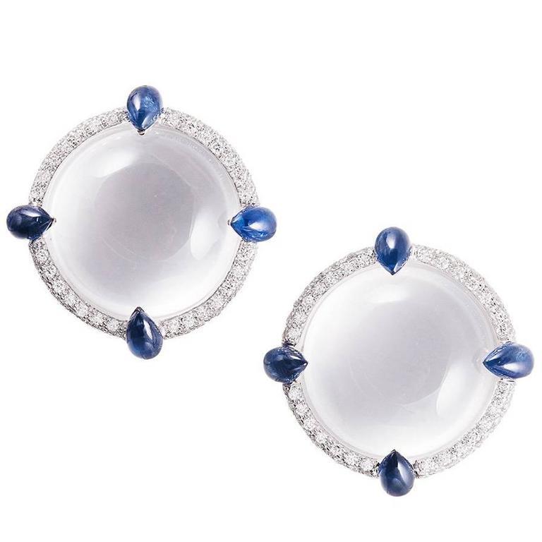 Seaman Schepps White quartz Blue Sapphire Diamond Gold Earrings
