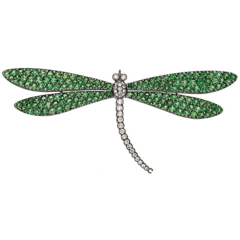 Tsavorite Diamond Gold Dragonfly Brooch