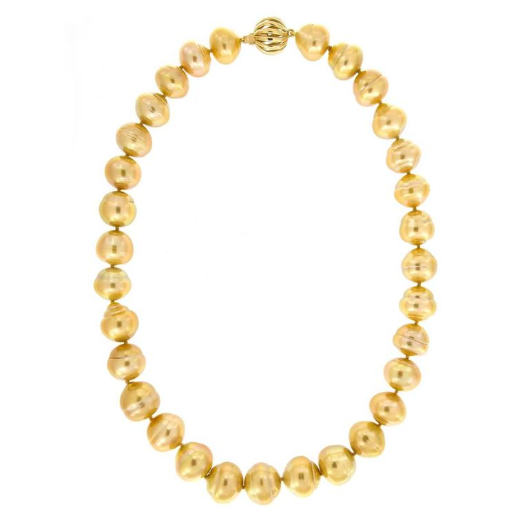 Golden South Sea Pearl and Gold Necklace