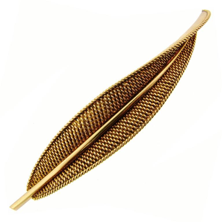 Sterle Paris Gold Leaf Pin Brooch Clip