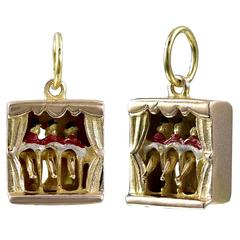 Fabulous Gold and Enamel Can Can Mechanical Charm