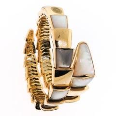 Bulgari ladies Mother of Pearl Yellow Gold Serpenti Bracelet
