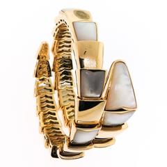 Bulgari ladies Mother of Pearl Yellow Gold Serpenti Bracelet