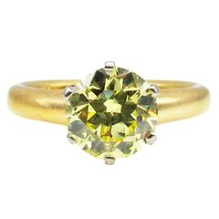 Antique Belle Epoque T.B. Starr Canary Yellow Diamond  Ring