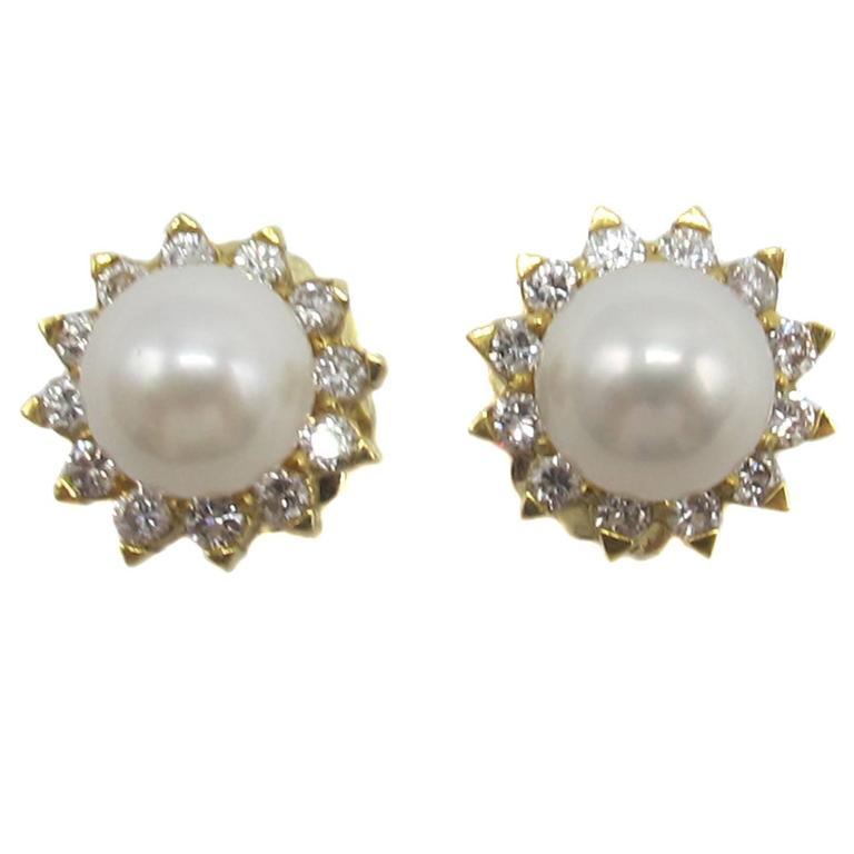 Cultured Pearl Diamond Gold Earrings