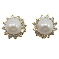 Cultured Pearl Diamond Gold Earrings