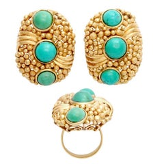 1970s Modern Design Textured Bubbles Turquoise Yellow Gold Ring and Earrings