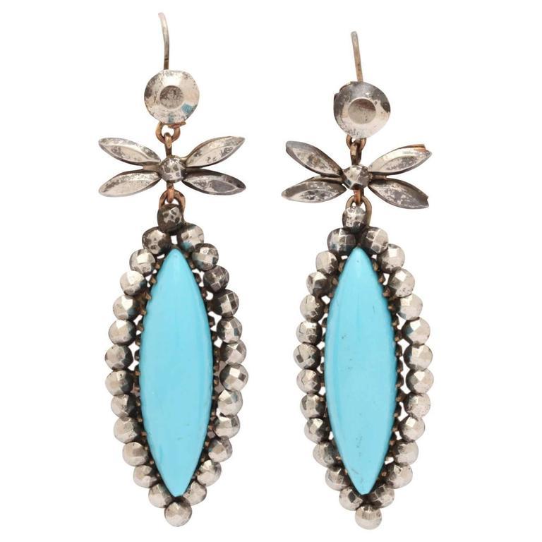 Cheerful Blue and Cut Steel Earrings c. 1830