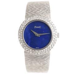 Piaget ladies White Gold Diamond Lapis manual wind Wristwatch